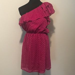 one shoulder fuchsia mini dress